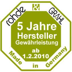 5 Jahre Herstellergewährleistung Rohde & Grahl