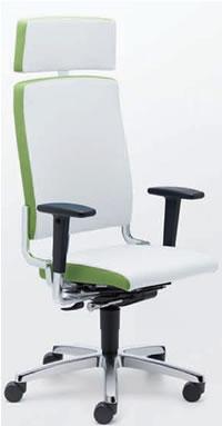 easySit® Bürostuhl mit weißem Leder mit grüner Einrandung