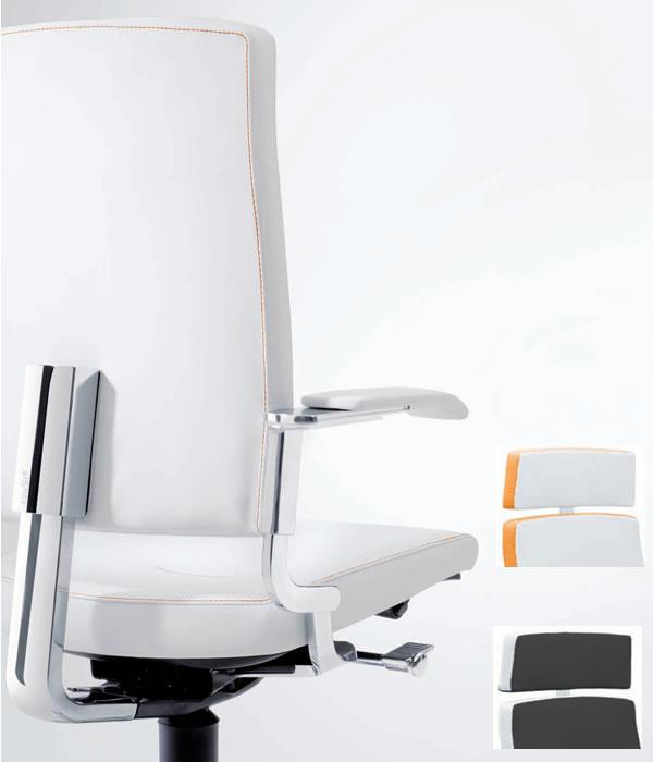easySit® Bürostuhl mit weißem Leder u. oranger Naht und Design Armlehne