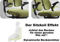 Dynamische Beckenunterstützung für 5 Bürostuhlserien von Rohde & Grahl