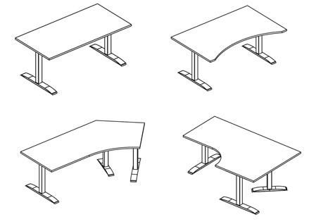 xio move elektrisch höhenverstellbarer Bürotisch in verschieden Formen zur Anpassung an vorhanden Büroeinrichtung.