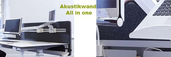 Akustikwand für den Büro - Schreibtisch mit Schiene und Kabelkanal !