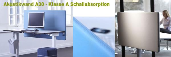 Akustikwand für Bürotische mit Klasse A Schallabsorption
