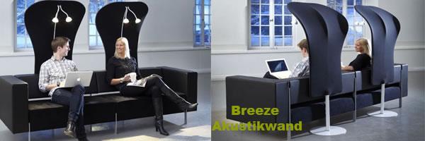 Die elegante Akustiwand verleiht den Raum durch die aussergewöhnliche Form eleganz und unaufdringlichen Sichtschutz.