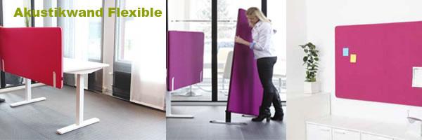 Die Flexible Akustikwand kann wahlweise als Bürotischakustikwand oder als Bodenakustikwand durch einfaches Umstecken verwendet werden. Oder als Akustik Pinwand