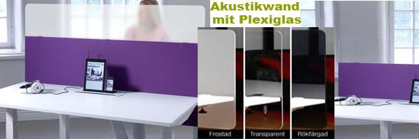 Akustikwand mit Plexiglas zur besseren Komunikation