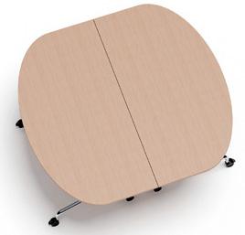 klappbare rollbare Konferenztisch Systemm 2 Tische halbrund
