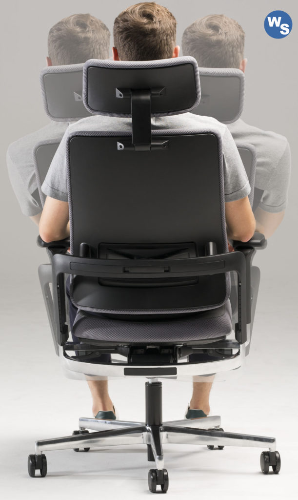 Xilium Drehstuhl mit beweglicher Rückenlehne.